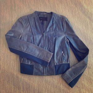 BCBG Maxazria blue leather jacket